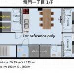 Kaminarimon 1F whole floor 3 bedrooms 2 bathrooms 2 toilets
